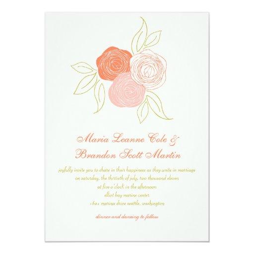 Invitación del boda del ramo del ranúnculo