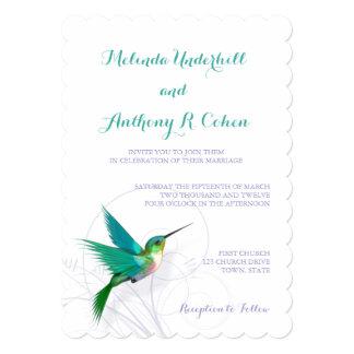 Invitación del boda del remolino 5x7 del colibrí