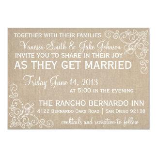 Invitación del boda del remolino de la arpillera invitación 12,7 x 17,8 cm