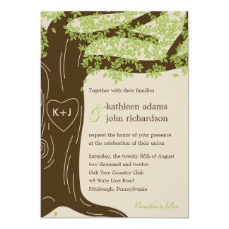 Invitación del boda del roble invitación 12,7 x 17,8 cm