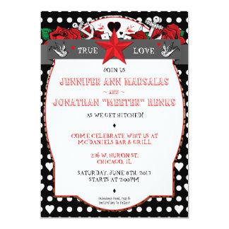 Invitación del boda del Rockabilly del tatuaje del