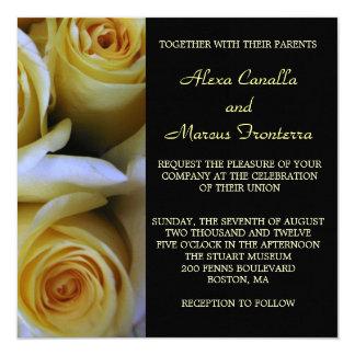Invitación del boda del rosa amarillo invitación 13,3 cm x 13,3cm
