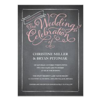 Invitación del boda del rosa de la escritura de la