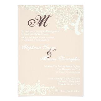 invitación del boda del rosa del cordón del