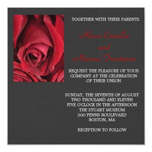 Invitación del boda del rosa rojo invitación 13,3 cm x 13,3cm
