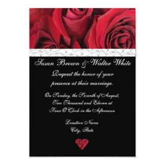 Invitación del boda del rosa rojo con los
