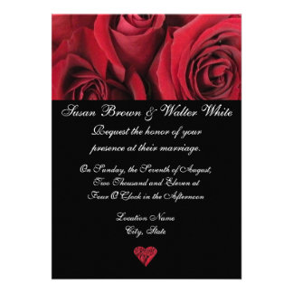 Invitación del boda del rosa rojo