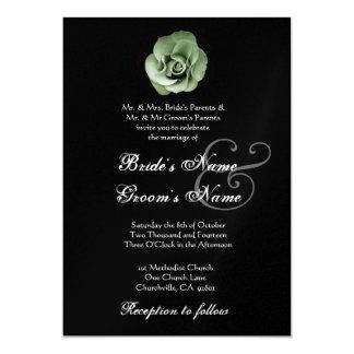 Invitación del boda del rosa VERDE - fondo de BLAC