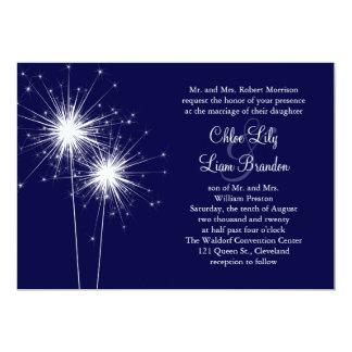Invitación del boda del Sparkler en azul