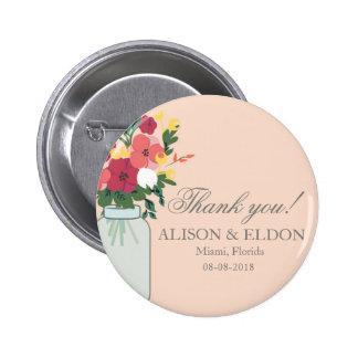 Invitación del boda del tarro de albañil - albaric pin redondo de 2 pulgadas