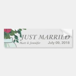 Invitación del boda del tarro de albañil - azul en pegatina para auto