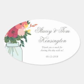 Invitación del boda del tarro de albañil - blanco pegatina ovalada