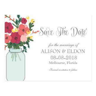 Invitación del boda del tarro de albañil - blanco  postales