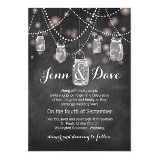 Invitación del boda del tarro de albañil de la