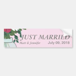 Invitación del boda del tarro de albañil - rosa en pegatina para auto