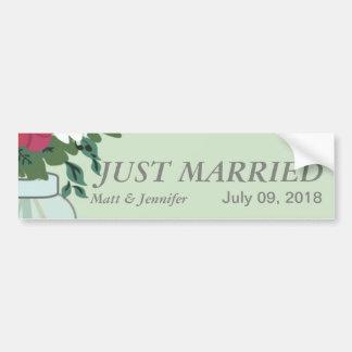 Invitación del boda del tarro de albañil - verde d pegatina para auto