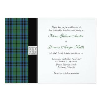 Invitación del boda del tartán de Keith Invitación 12,7 X 17,8 Cm