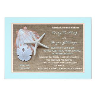 Invitación del boda del tema de la playa invitación 12,7 x 17,8 cm