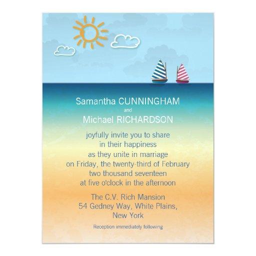 invitación del boda del tema de la playa de la invitación 16,5 x 22,2 cm