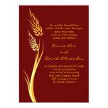 Invitación del boda del trigo del otoño de Brown Invitación 12,7 X 17,8 Cm