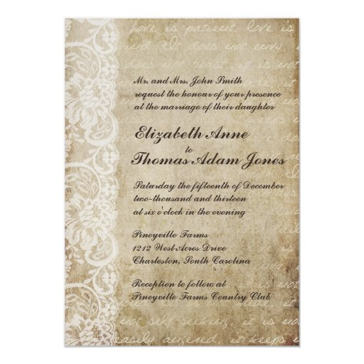Invitación del boda del Viejo Mundo del cordón del Invitación 12,7 X 17,8 Cm