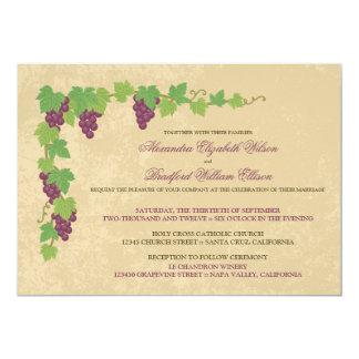 Invitación del boda del viñedo (textura del invitación 12,7 x 17,8 cm