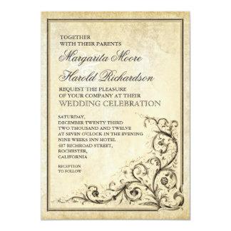 Invitación del boda del vintage con remolinos del