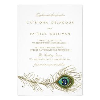 Invitación del boda del vintage de la pluma del invitación 12,7 x 17,8 cm