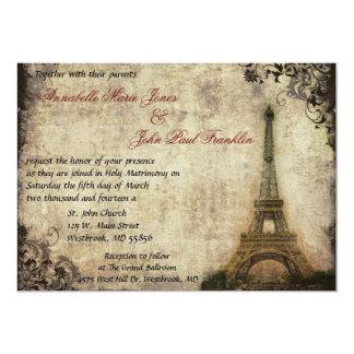 Invitación del boda del vintage de la torre Eiffel