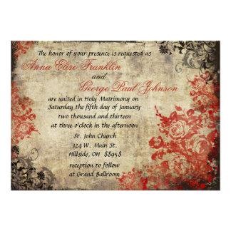 Invitación del boda del vintage de los rosas rojos