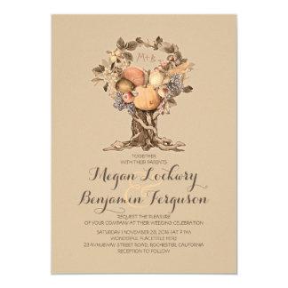 invitación del boda del vintage del árbol de la