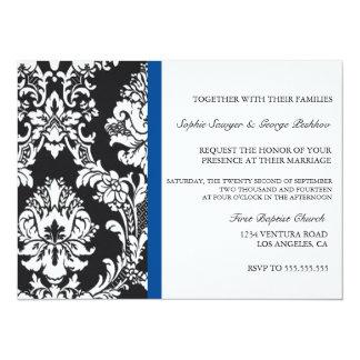 Invitación del boda del vintage del azul real
