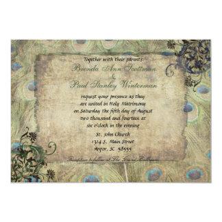 Invitación del boda del vintage del pavo real