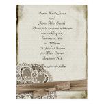 Invitación del boda del vintage postal