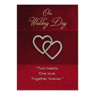 Invitación del boda - dos corazones es uno -