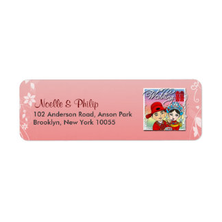 Invitación del boda: Etiqueta de la letra (rosa) Etiquetas De Remite