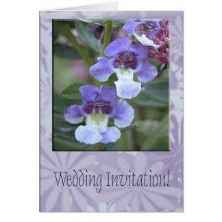Invitación del boda/flores púrpuras tarjeta pequeña