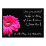 Invitación del boda: Gerbera rosado con el Invitación 8,9 X 12,7 Cm