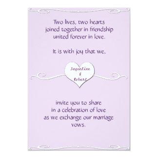 Invitación del boda - lila del corazón y del
