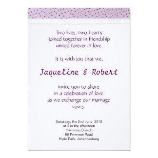 Invitación del boda - lunares de la lila con el