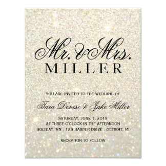Invitación del boda - oro blanco Glit fabuloso