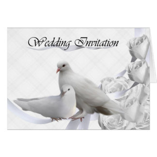 Invitación del boda - palomas blancas, rosas tarjeta de felicitación