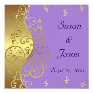 Invitación del boda--Remolinos de la lavanda y del