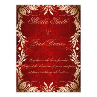 Invitación del boda rojo y de oro