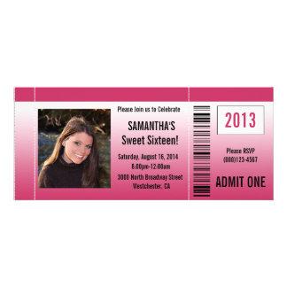 Invitación del boleto de la foto del dulce diecisé