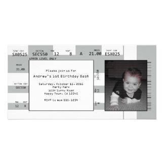 Invitación del boleto de los deportes tarjeta con foto personalizada