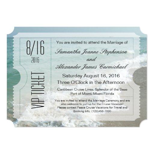 Invitación del boleto del boda del destino de la