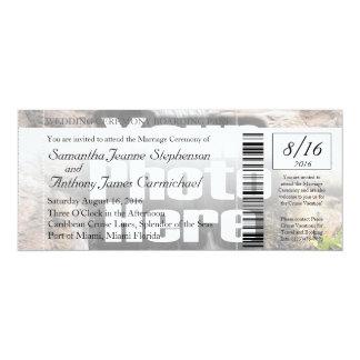 Invitación del boleto del boda del documento de invitación 10,1 x 23,5 cm