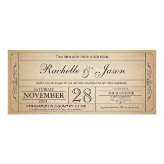 Invitación del boleto del boda del vintage