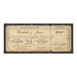 Invitación del boleto del boda del vintage con